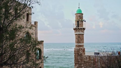 Jaffa, Israel: The Jaffa, Israel: beautiful view of the mosque tower in the old city of Jaffa