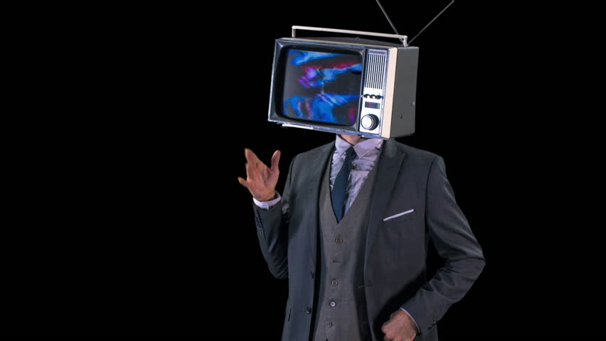 Mr tv head. cool man in a suit dancing with a television as a head. the tv is has video static and noise playing on it. | Shutterstock HD Video #1008088963