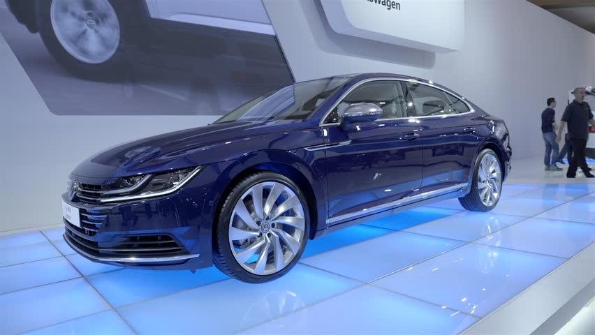 TORONTO, CANADA - FEBRUARY 2018: 2019 Volkswagen Arteon. 2018 CANADIAN  INTERNATIONAL AUTOSHOW. | Shutterstock HD Video #1008091003