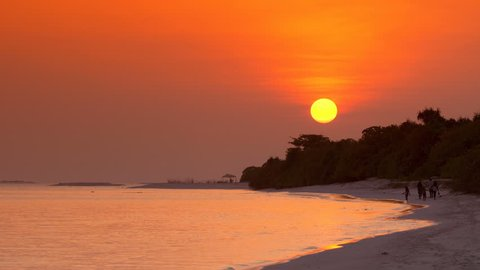 View at sunset on maldivian island. Travel destination