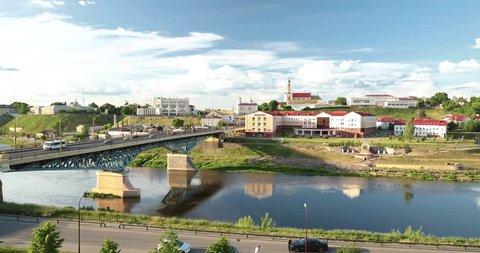 Grodno, Belarus. Bridge Across Neman River, Grodno Regional Drama Theatre, St. Francis Xavier Cathedral And Bernardine Monastery At Summer Sunny Day. Zoom, Zoom In.