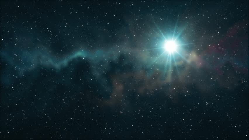 lone big star flickering in soft moving nebula #1008153703
