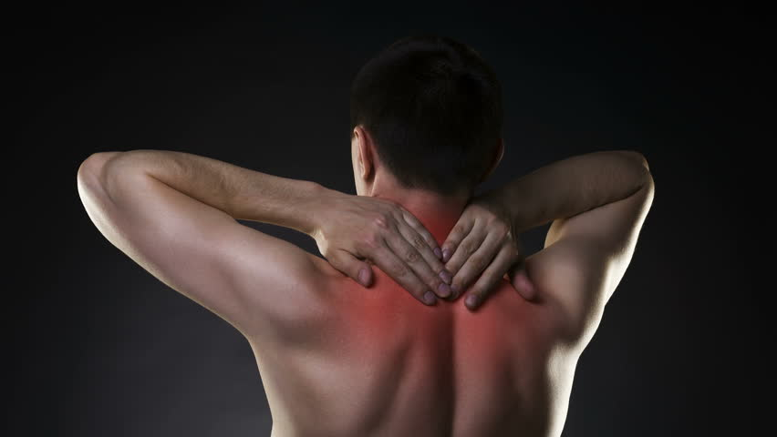 Neck pain, man with backache on black background with red dots