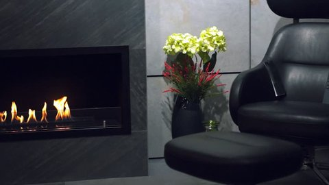 Luxurious living room with leather armchair, modern gas fireplace and flowers in a vase