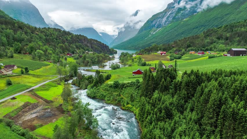 Beautiful Nature Norway natural landscape. Aerial footage lovatnet lake. | Shutterstock HD Video #1008192043