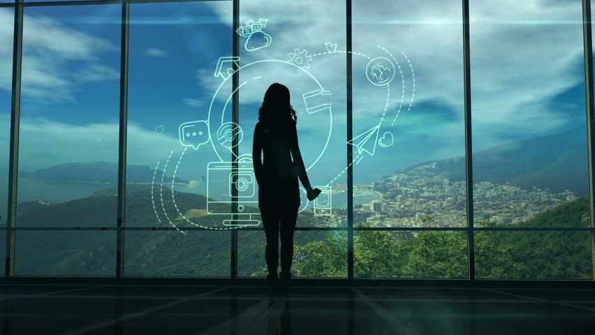Silhouette of a Woman and Infographics on Internet and Social Media themes