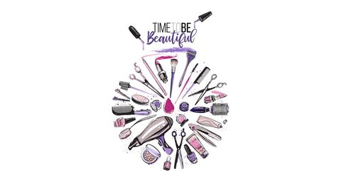 Beauty salon animated circled logo. Set of beauty salon tools and accessories appearing and make beautiful rounded composition. Hand drawn 2D graphic in watercolor style. Trendy ultra violet colors.