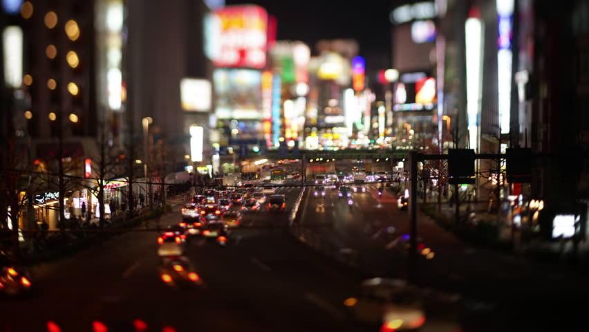 Big City Traffic with Neon Lights (Tilt-Shift/Time Lapse)