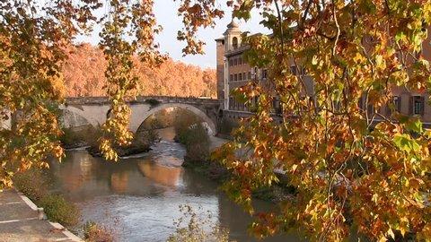 Rome, Italy. Autumn. Tiber River. Fabricio Bridge