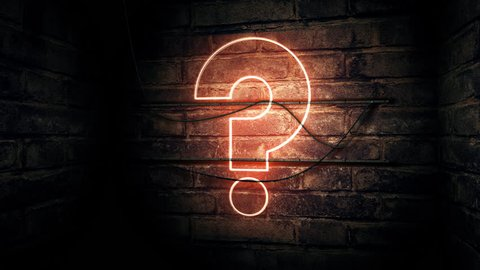 Question mark neon sign on brick wall, conceptual 3d rendering animation for test, exam and looking for answers perplexed situation.