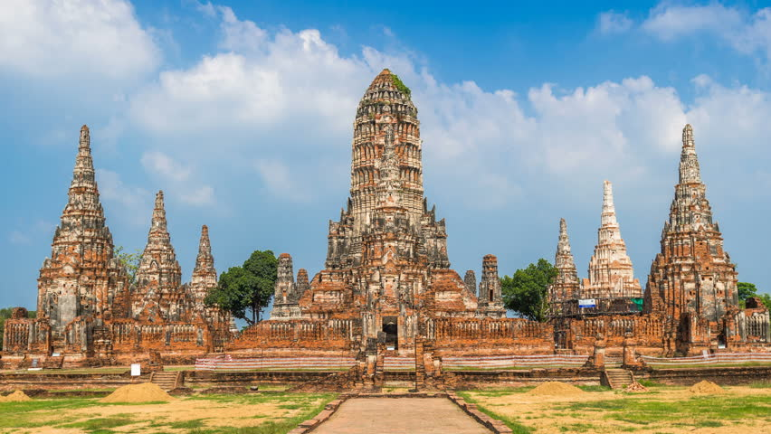 Time lapse of Ayutthaya Historical Park, Wat Chaiwatthanaram Buddhist temple in Thailand.