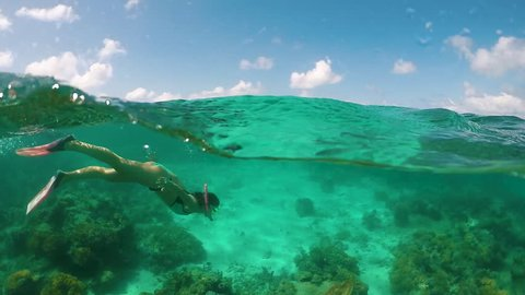 Young Attractive Bikini Girl Snorkelling Underwater Great Barrier Reef Slow Motion 120fps