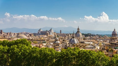 Time Lapse of Rome skyline at the city center with panoramic view of famous landmark of Ancient Rome architecture and Italian culture and monuments . Historical Rome famous travel destination .