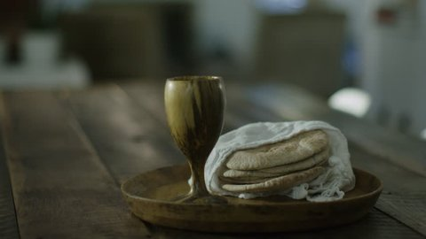 Communion Bread and Wine on Table