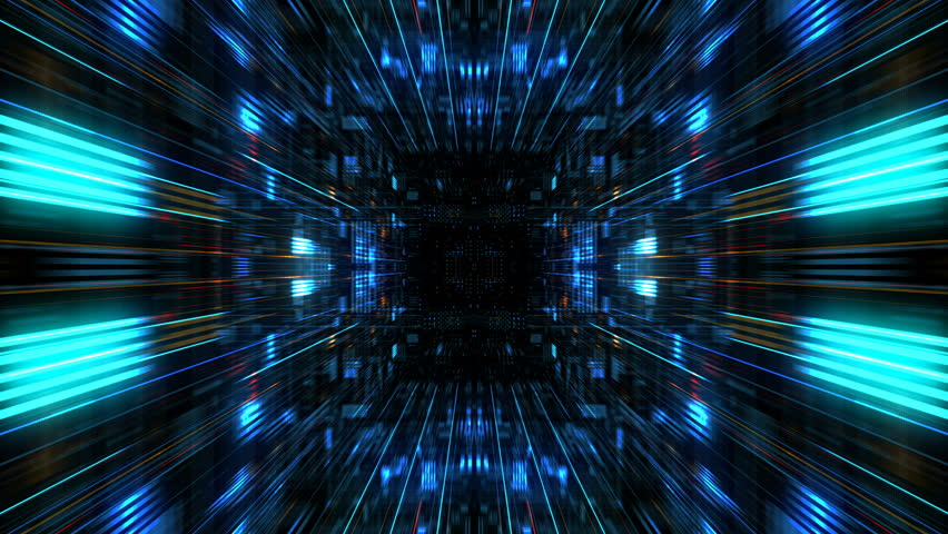 Abstract futuristic sci fi warp tunnel with particle grid. Motion graphic for  data center, server, internet, speed. Futuristic big data visualization, hi tech background. 3D rendering.