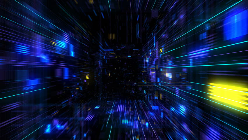 Futuristic HUD tunnel seamless VJ loop. HUB display screens for tech titles and background, news headline business intro. Motion graphic for abstract datacenter, server, internet, speed. 4K 3D render  | Shutterstock HD Video #1008337813