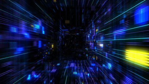 Futuristic HUD tunnel seamless VJ loop. HUB display screens for tech titles and background, news headline business intro. Motion graphic for abstract datacenter, server, internet, speed. 4K 3D render
