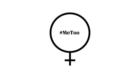 Animation of female - or venus - sign as a beating heart, with the text #MeToo beating with it and is finally still. On white background.