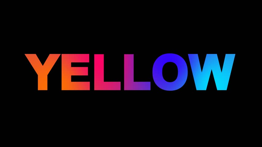 text YELLOW multi-colored appear then disappear under the lightning strikes changing color. Alpha channel Premultiplied - Matted with color black