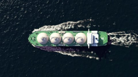 LNG tanker in the ocean, top view