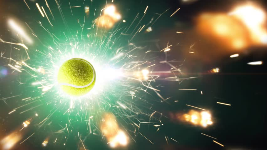 Tennis ball with fire sparks in action