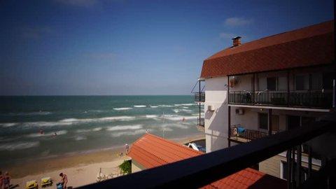 time laps surf Russian Bay at Kazantip Crimea summer morning