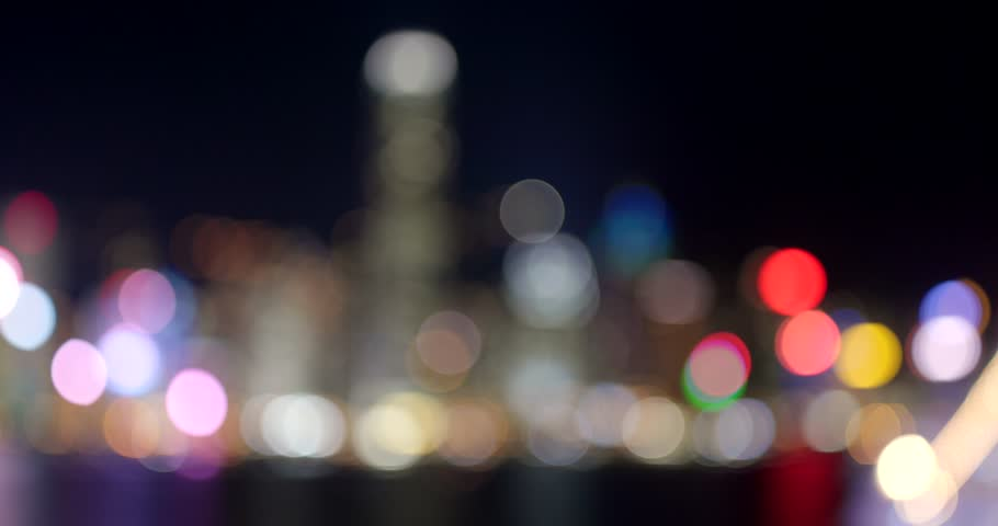 Unfocused of cityscape skyline at night | Shutterstock HD Video #1008425563