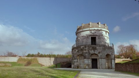 timelapse shot of the Mausoleum of Theoderic in Ravenna, Italy