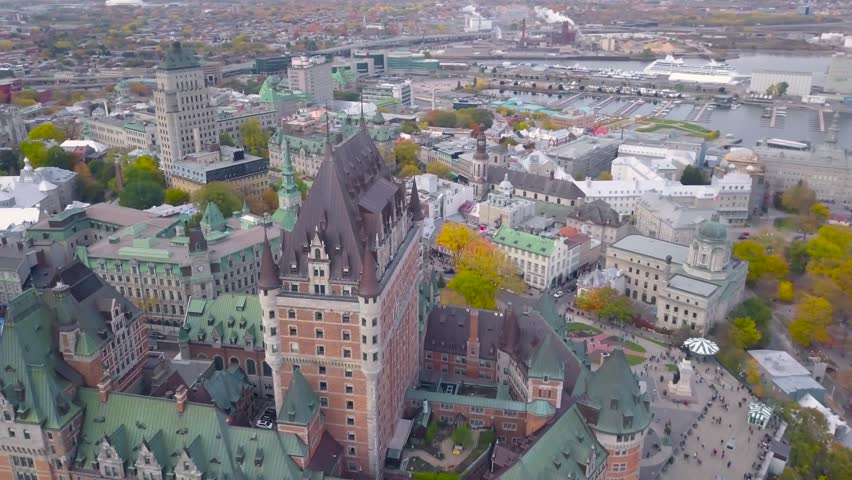 4K (UHD) Drone footage of Château Frontenac, Quebec, Canada. Flying around the landmark Château Frontenac. Skyline of Quebec. Overview of the city.