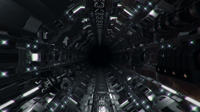 Animation flying into spaceship tunnel with light and sparkles. Journey in technology tunnel. Animation of seamless loop. | Shutterstock HD Video #1008471463