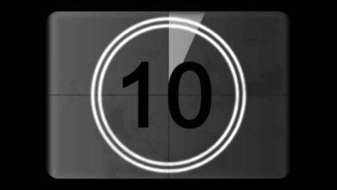 4K Countdown Leader Graphic 10 - 0, With Film Burn & Rolling Effect, Gray scale. Film tone and retro style. Motion graphic and animation. Old style film. Animated Number Counters.