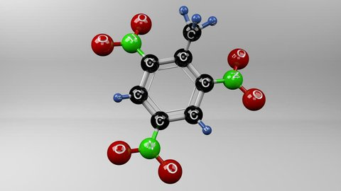 Trinitrotoluene molecule. Molecular structure of TNT, explosive.