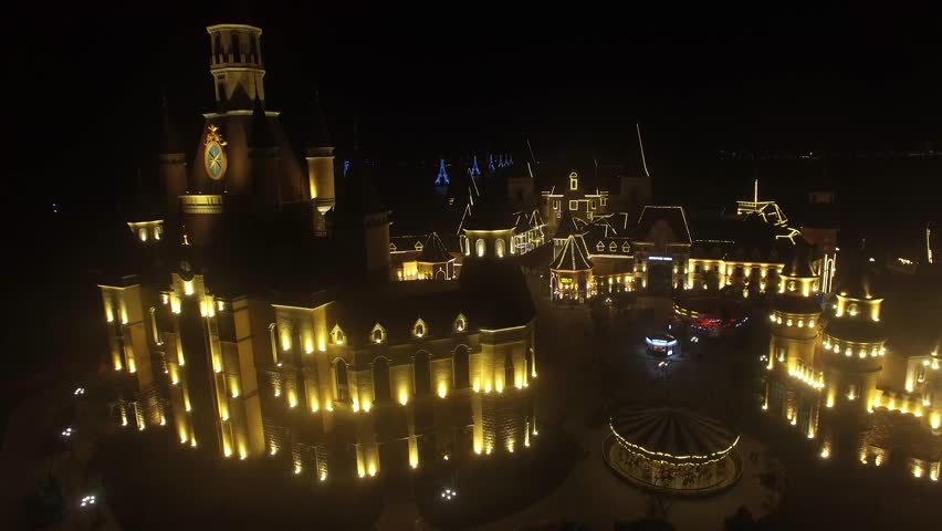 arial view of night Castle