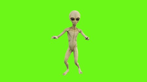 Alien dancing. Loopable animation on green screen. 4k.