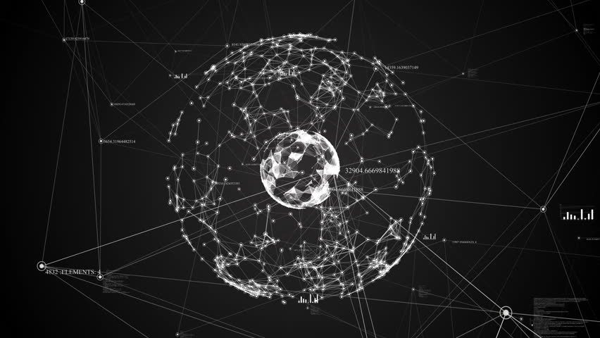 Abstract sphere on a black background with digital dots, lines and figures. Black and white plexus #1008596383