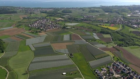 Flight over Lake Constance (Bodensee) near Riedheim with a zeppelin, may 2013, landscape in southern Germany,view to vineyards,apple orchards,agriculture, spring time,