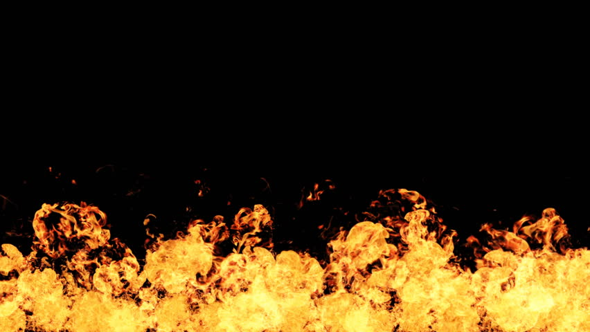 High Speed Fire explosion towards to camera, cross frame ahead transition, slow motion fire flamethrower isolated on black background perfect for cinema, digital composition.