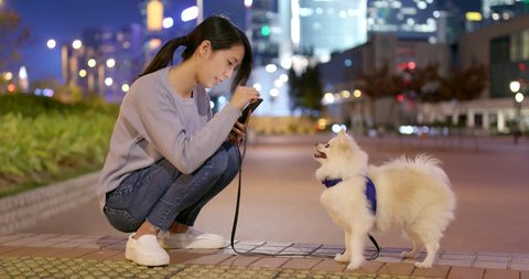 Woman take photo on her dog in city at night