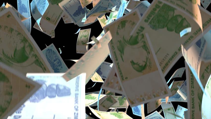 Falling Zimbabwe money banknotes  Video Effect simulates Falling Mixed Zimbabwe money banknotes with alpha channel (transparent background) in 4k resolution  | Shutterstock HD Video #10086233