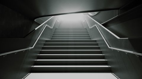 Climbing the black stairs to white light. Slow motion on a street staircase. 4k resolution 3D rendering.