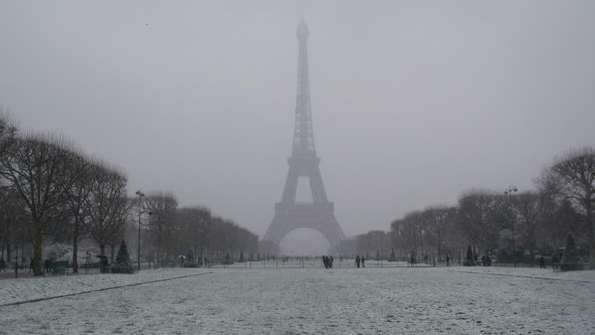 Snowy day in Paris, France, Europe | Shutterstock HD Video #1008644863