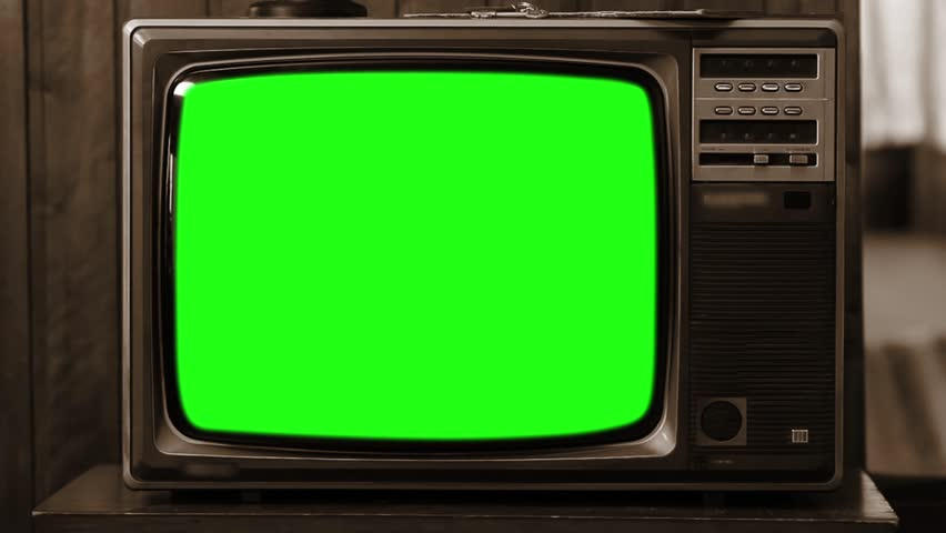 Old 80s Television Green Screen. Sepia Tone. Zoom Out Fast.   | Shutterstock HD Video #1008696523