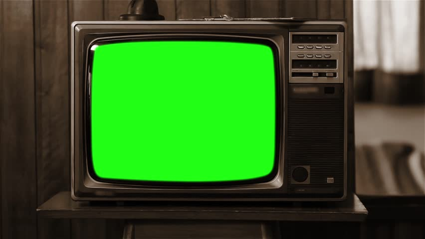 Old 80s Television GreenScreen. Sepia Tone. Zoom In really Fast.  Full HD.  | Shutterstock HD Video #1008696553