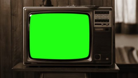Old 80s Television GreenScreen. Sepia Tone. Zoom In really Fast.  Full HD.