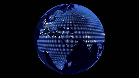 Blue point world globe Europe and Africa map with white dot cities on dark background 3D animation with alpha mask.