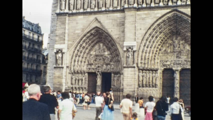 Paris 1970s: Notre Dame de Paris Cathedral in the French capital, on 1970s in Paris, France, Europe | Shutterstock HD Video #1008742013
