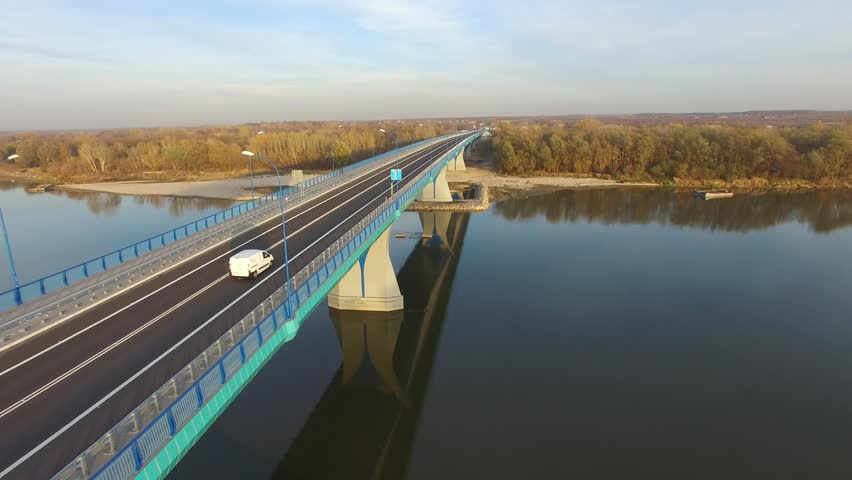 Flight next to the bridge in Kamie?, 10.2016, Poland, aerial view | Shutterstock HD Video #1008791333