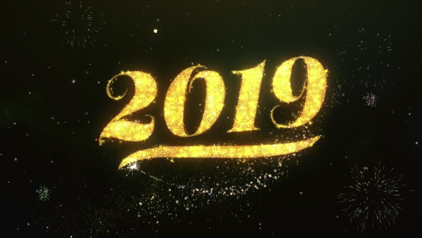 Happy new year 2019 Text Greeting and Wishes card Made from Glitter Particles and Sparklers Light Dark Night Sky With Colorful Firework 4k Background. | Shutterstock HD Video #1008791903