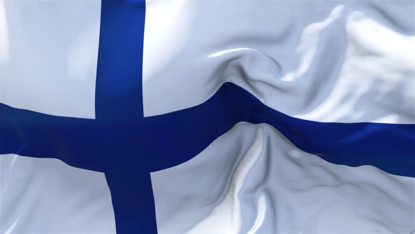 Finland Flag in Slow Motion Classic Flag Smooth blowing in the wind on a windy day rising sun 4k Continuous seamless loop Background