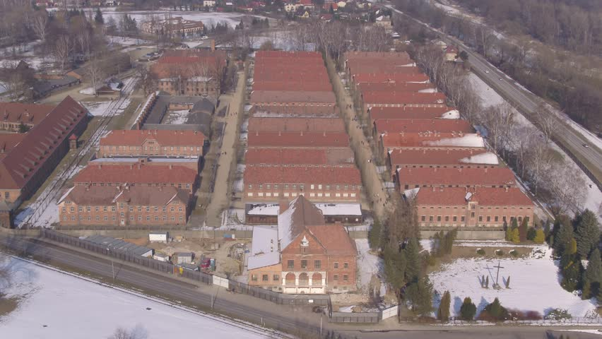 Auschwitz Concentration camp Poland - Aerial drone moving over buildings 4k